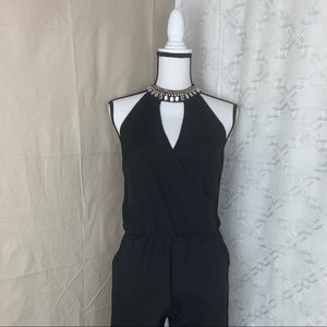 Guess jumpsuit with neck in rhinestones